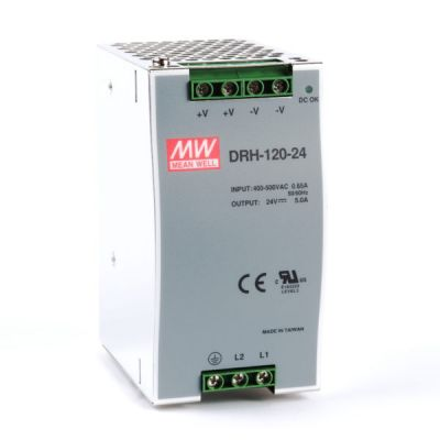 DRH-120-24 Power Supply 340-550VAC 2 phase input, output 24 volts DC 5.0 Amps