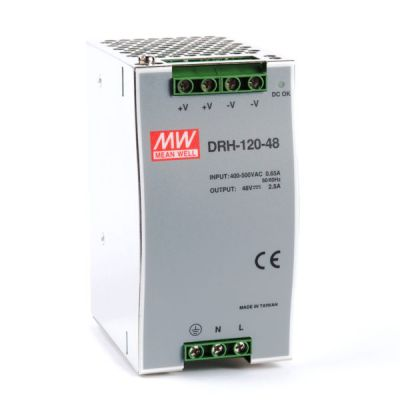DRH-120-48 Power Supply 340-550VAC 2 phase input, output 48 volts DC 2.5 Amps