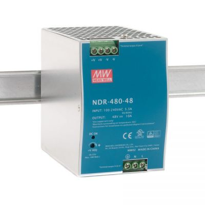 NDR-480-48 Power Supply 90-264VAC 1 phase input, output 48 volts DC 10.0 Amps