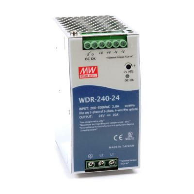 WDR-240-24 Power Supply 1ph and 3ph in input, output 24 volts DC 10 Amps