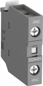 ABB cc4-01 front mounted aux contact block with nc leading contact and no lagging contact
