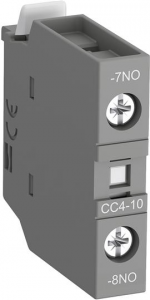 ABB cc4-10 front mounted aux contact block with no leading contact and nc lagging contact