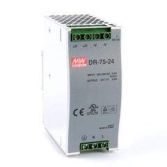 DR-75-24 Power Supply 85-264VAC 1 Phase input, output 24 volts DC 3.2 Amps