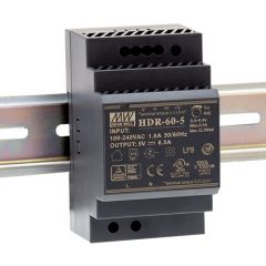 HDR-60-5 Power Supply 85-264VAC 1 phase input, output 5 volts DC 6.5 Amps