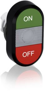 abb illuminated momentary double flush pushbutton green/red on/off mpd3-11c