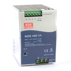 WDR-480-24 Power Supply 1ph and 3ph in input, output 24 volts DC 20.0 Amps
