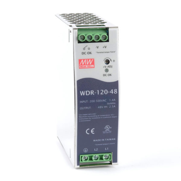 WDR-120-48 Power Supply 1ph and 3ph in input, output 48 volts DC 2.5 Amps